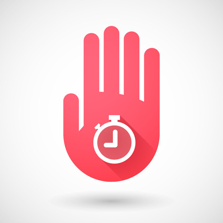 red hand: Illustration of a red hand icon with a timer