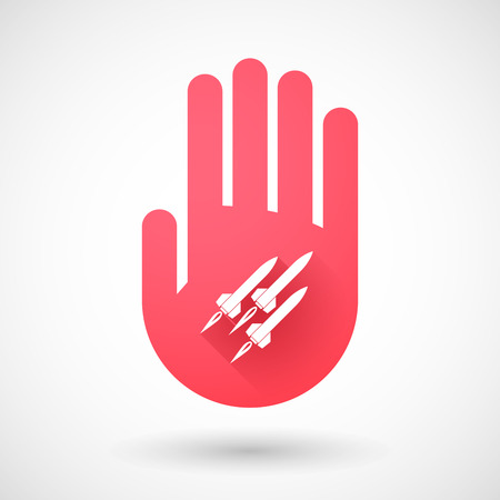 missiles: Illustration of a red hand icon with missiles Illustration