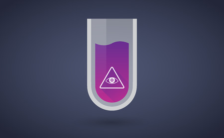 all seeing eye: Illustration of a purple test tube icon with an all seeing eye