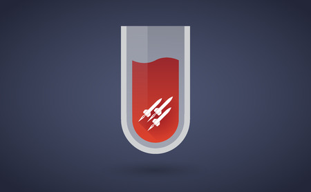 chemical weapon symbol: Illustration of a red test tube icon with missiles Illustration