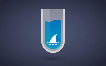 fin: Illustration of a Blue test tube icon with a shark fin Illustration