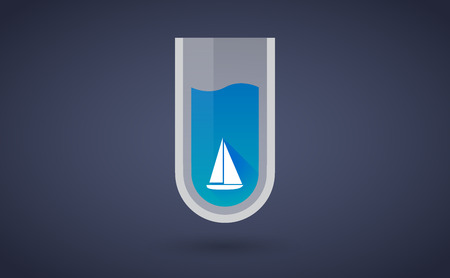 Illustration of a Blue test tube icon with a ship Vector