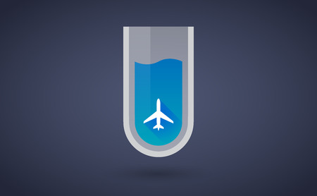 Illustration of a Blue test tube icon with a plane Vector