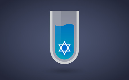 Illustration of a Blue test tube icon with a david star Vector