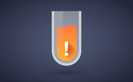 bio safety: Illustration of an orange test tube icon with an exclamation sign