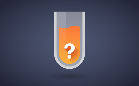test glass: Illustration of an orange test tube icon with a question sign
