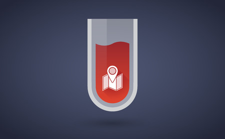 Illustration of a red test tube icon with a map Vector