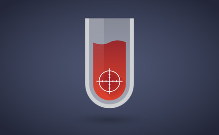 chemical weapon symbol: Illustration of a red test tube icon with a crosshair