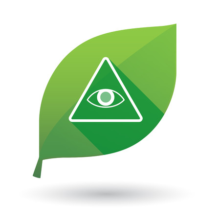 all seeing eye: Illustration of a green leaf icon with an all seeing eye
