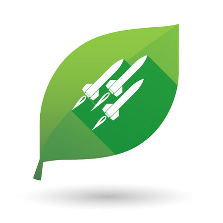 ballistic: Illustration of a green leaf icon with missiles