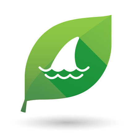 fin: Illustration of a green leaf icon with a shark fin Illustration