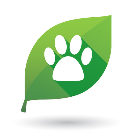 green footprint: Illustration of a green leaf icon with an animal footprint Illustration