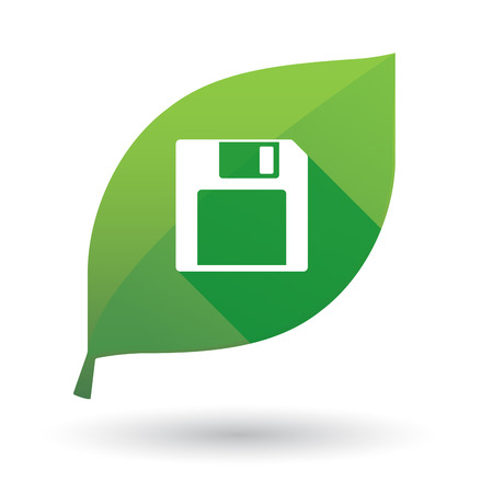 Illustration of a green leaf icon with a floppy disk Illustration