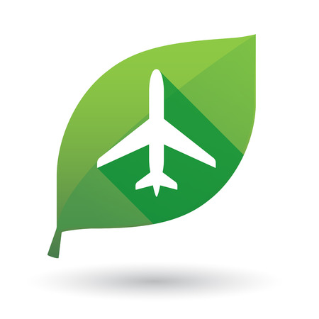 Illustration of a green leaf icon with a plane