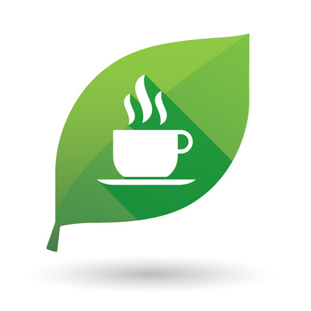 coffee leaf: Illustration of a green leaf icon with a coffee cup