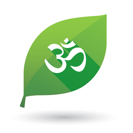 zen aum: Illustration of a green leaf icon with an om sign