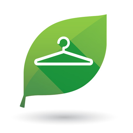 spring coat: Illustration of a green leaf icon with a hanger Illustration