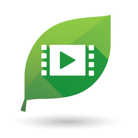 tv screen: Illustration of a green leaf icon with a multimedia sign