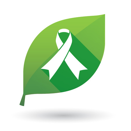 awareness ribbon: Illustration of a green leaf icon with an awareness ribbon