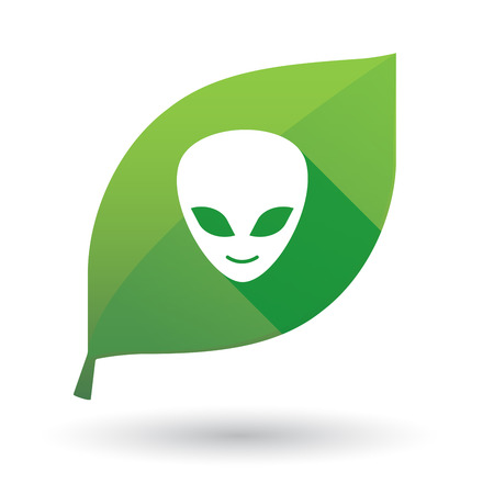 alien face: Illustration of a green leaf icon with an alien face