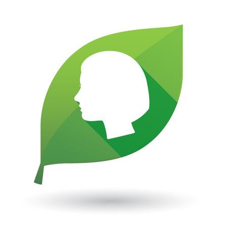 cabeza femenina: Ilustraci�n de un icono de la hoja verde con una cabeza femenina