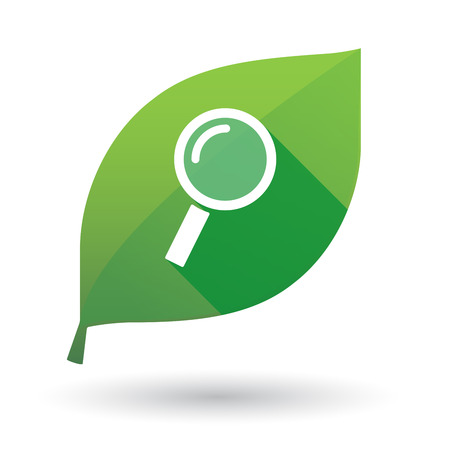 magnifying: Illustration of a green leaf icon with a magnifier