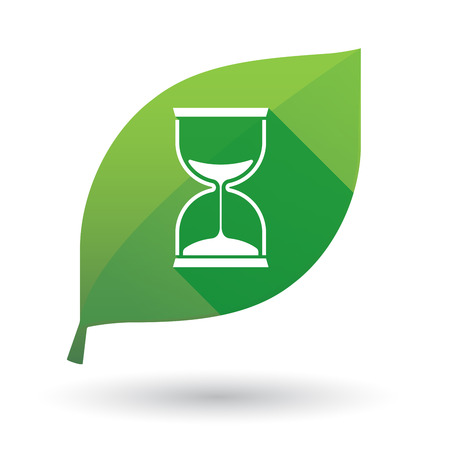 sand watch: Illustration of a green leaf icon with a sand watch