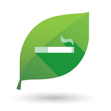 cigar shape: Illustration of a green leaf icon with a cigarette Illustration
