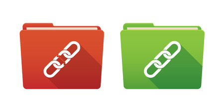 Isolated file folder icon set with chains