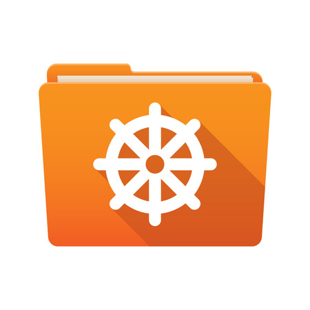 Isolated file folder icon with a dharma chakra sign