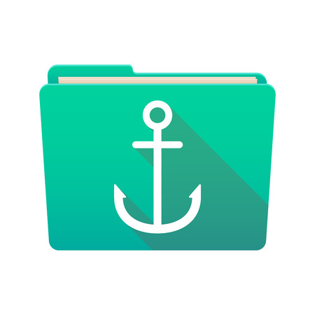Isolated file folder icon with an anchor Vector