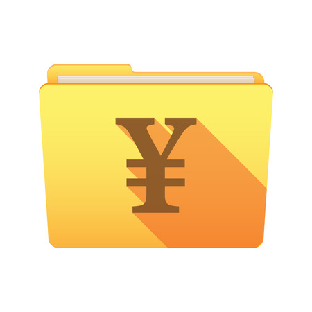 yen sign: Isolated file folder icon with a yen sign
