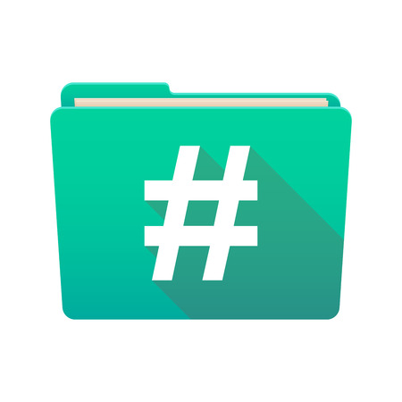 hash: Isolated file folder icon with a hash tag