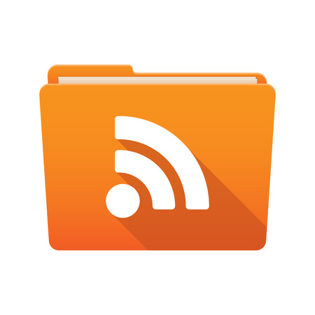 rss feed: Isolated file folder icon with a RSS feed sign