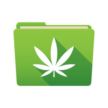 marihuana: Isolated file folder icon with a marijuana leaf Illustration