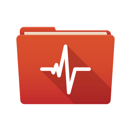 batida de cora��o: Isolated file folder icon with a heart beat sign