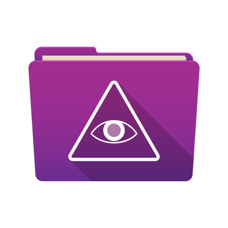 all seeing eye: Isolated file folder icon with an all seeing eye