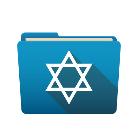 Isolated file folder icon with a David star Vector