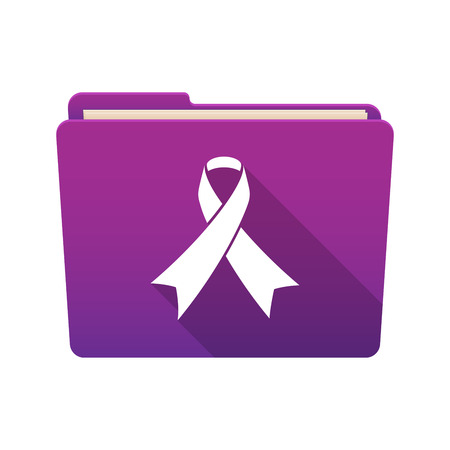 awareness ribbon: Isolated file folder icon with an awareness ribbon Illustration