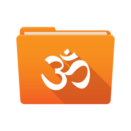 Isolated file folder icon with an om sign Vector