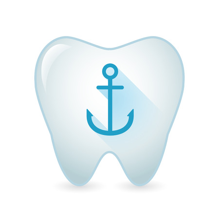blue tooth: Illustration of an isolated tooth icon with an anchor Illustration