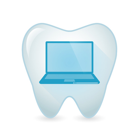 mouth screen: Illustration of an isolated tooth icon with a laptop Illustration