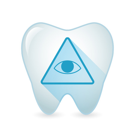 all seeing eye: Illustration of an isolated tooth icon with an all seeing eye Illustration