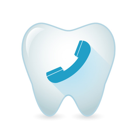 Illustration of an isolated tooth icon with a phone