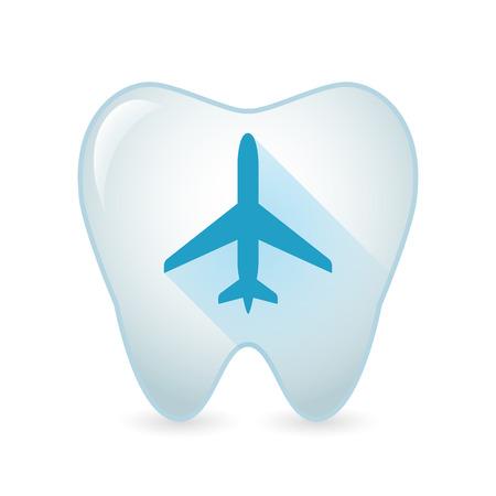 비행기와 격리 된 치아 아이콘의 그림 일러스트