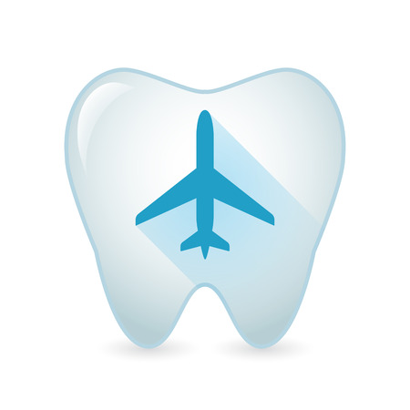 Illustration of an isolated tooth icon with a plane