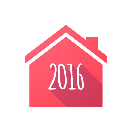 Illustration of a red house icon with a 2016 sign
