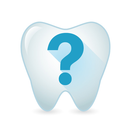 questions: Illustration of an isolated tooth icon with a question sign
