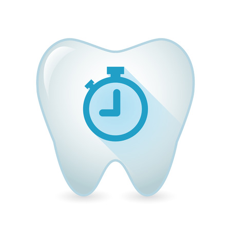 blue tooth: Illustration of an isolated tooth icon with a clock