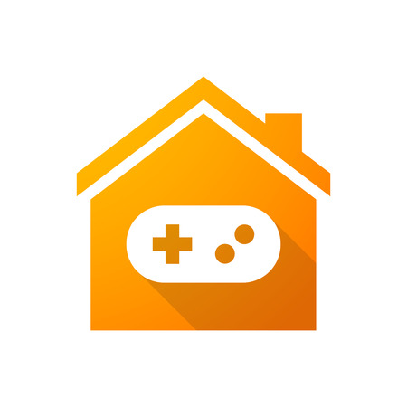 Illustration of an orange house icon with a game pad Vector